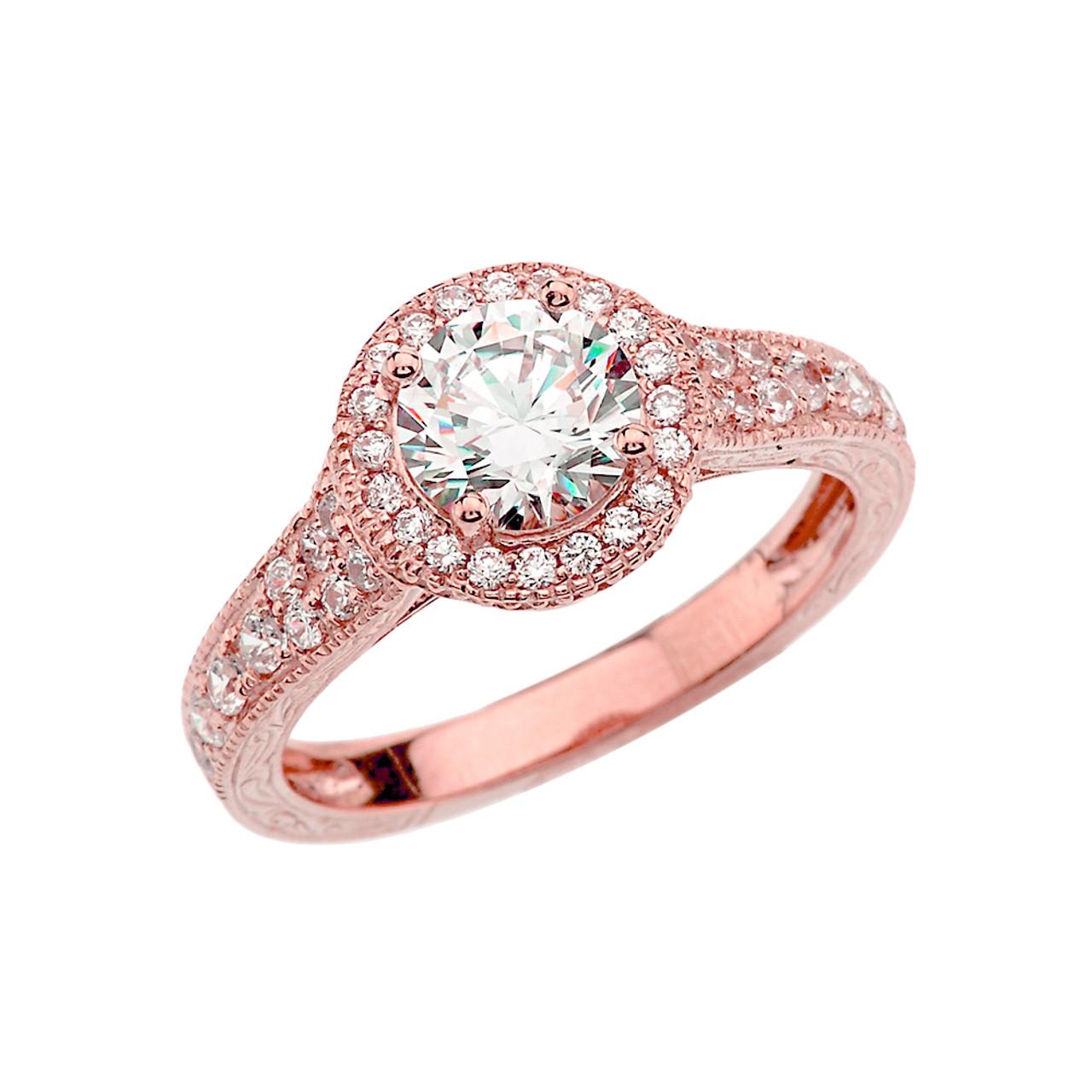 Rose Gold Art Deco Diamond Engagement Ring With 1 ct White Topaz Center  Stone