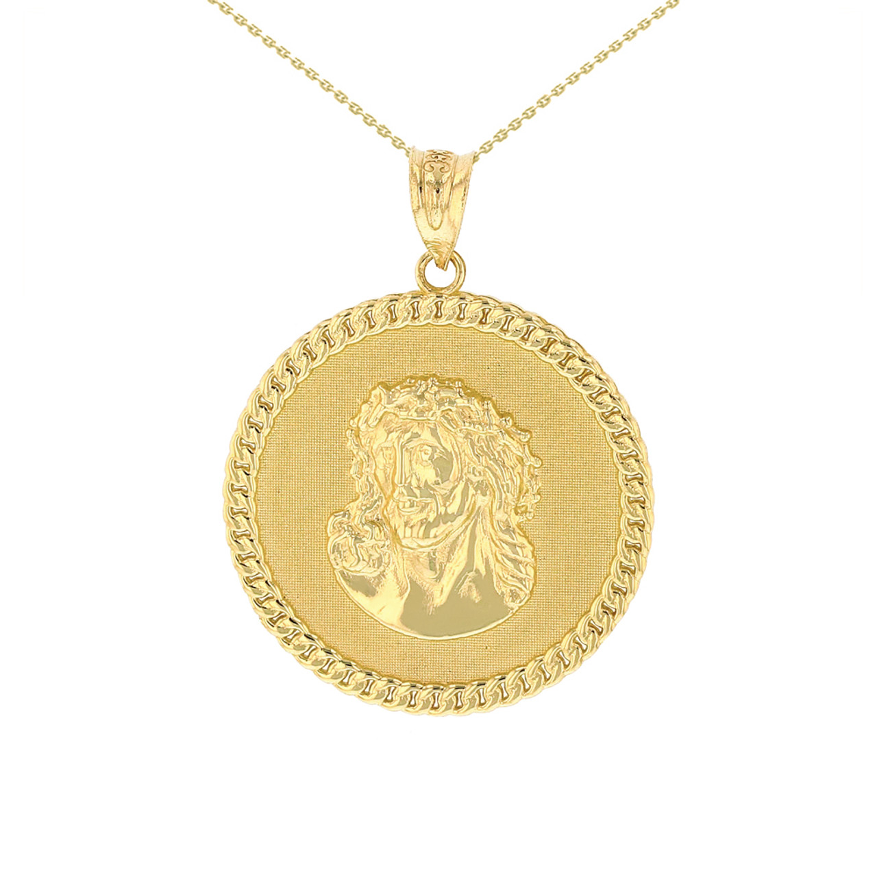 Solid Yellow Gold Cuban Curb Link Frame Circle Jesus Christ Medallion Pendant Necklace