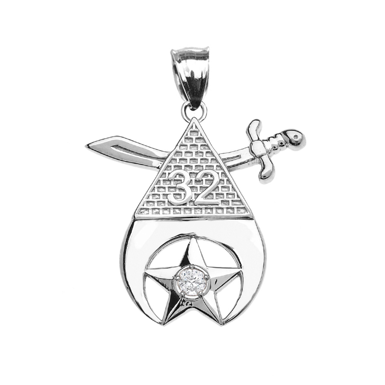10k White Gold Octagonal Freemason Charm Masonic Pendant Necklace