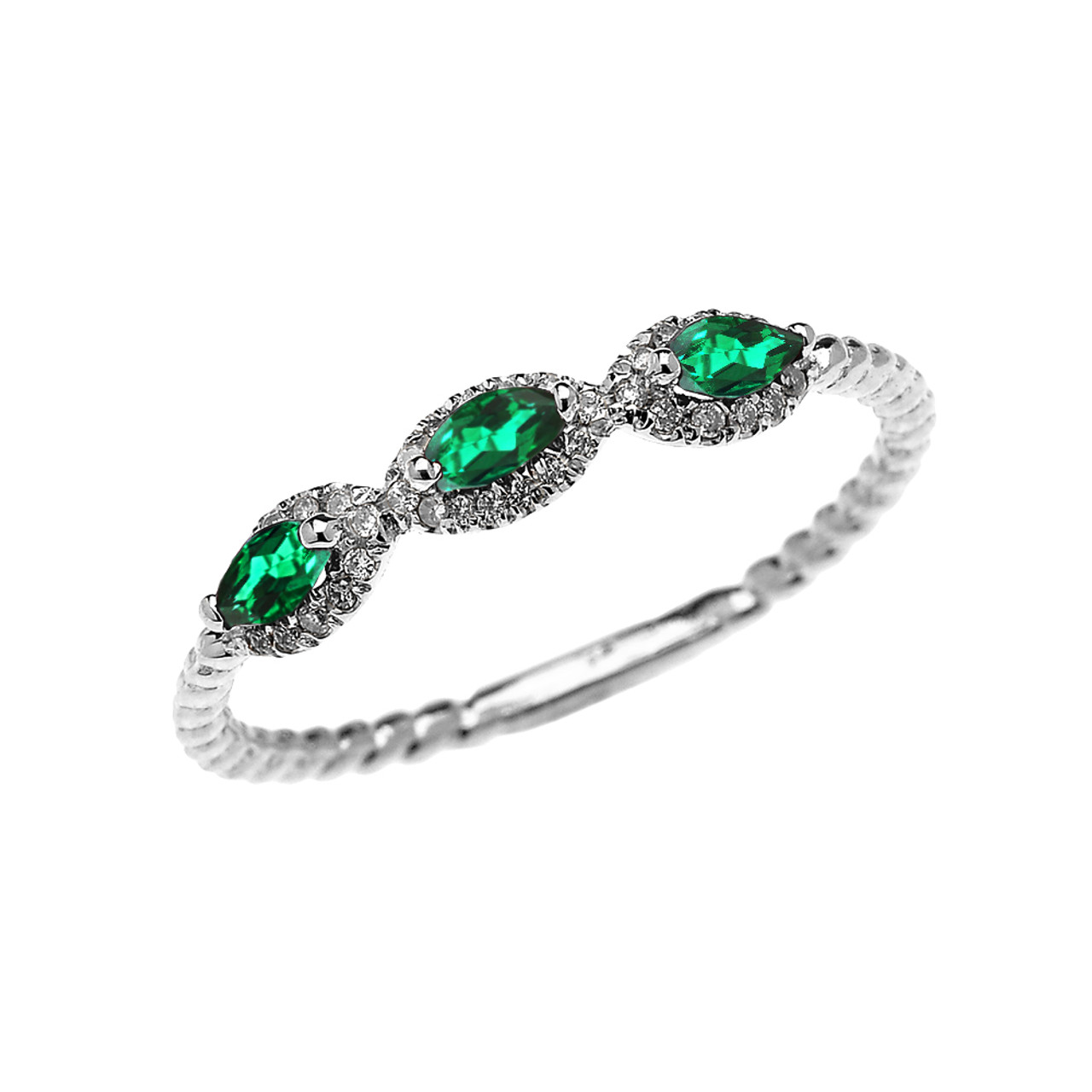 White Gold Dainty Three Stone Emerald And Diamond Rope Design ENGAGEMENTSTACKABLE RING