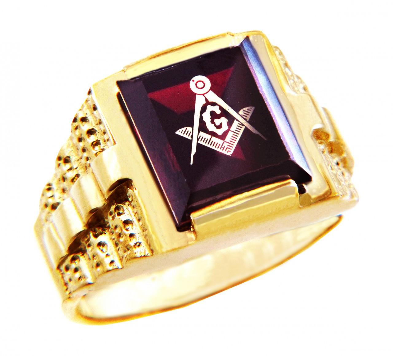 Rose Gold MASONIC Square Men/'s Ring