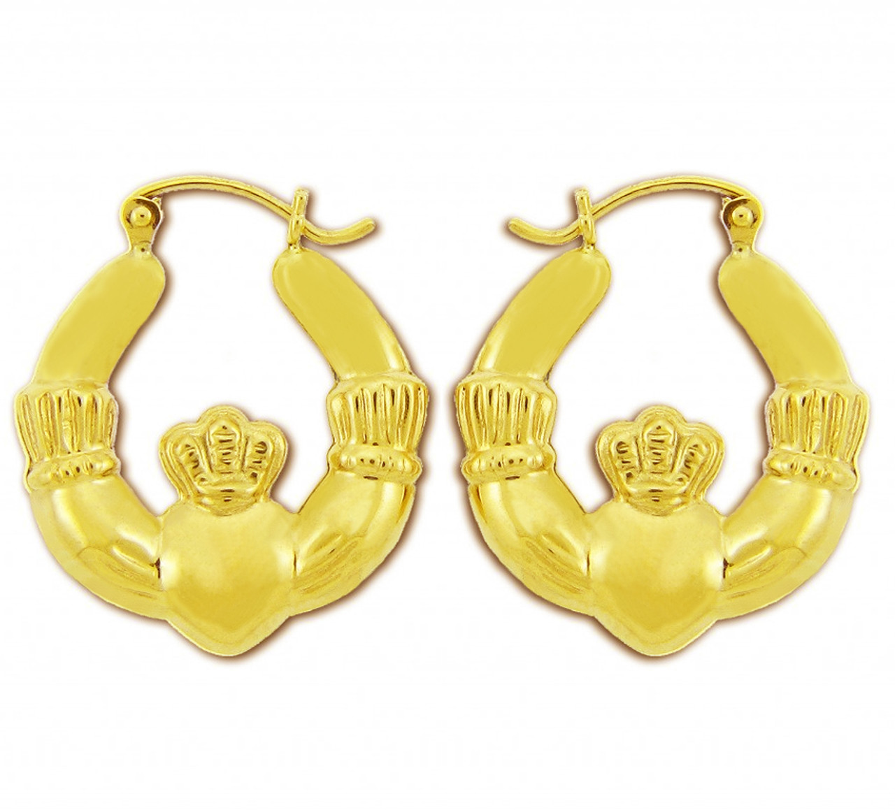 14kt Yellow Gold Polished Claddagh Hoop Earrings