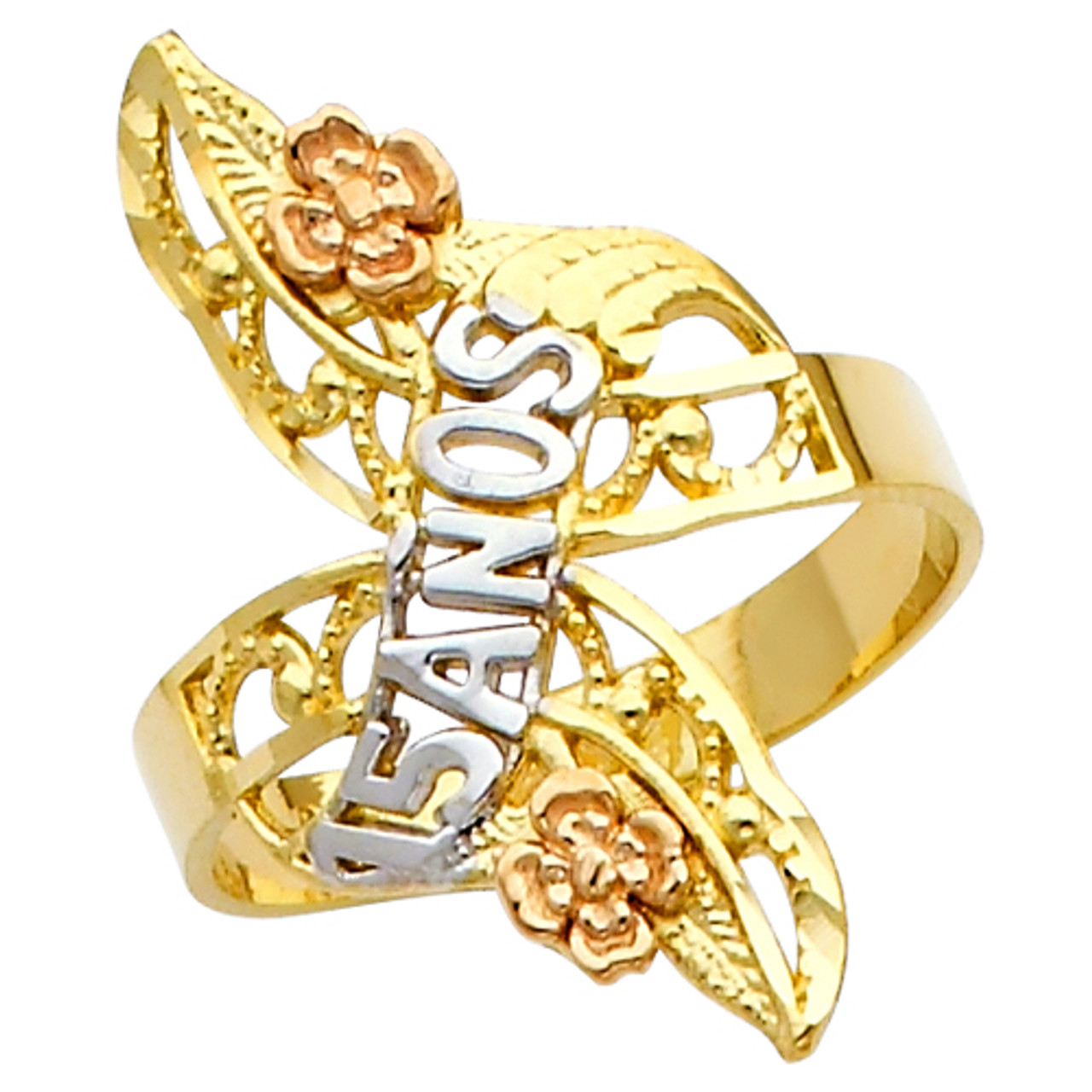 14K Solid Tri Color Gold Quince Anos Sweet 15 Lady Quinceanera and Hearts Ring