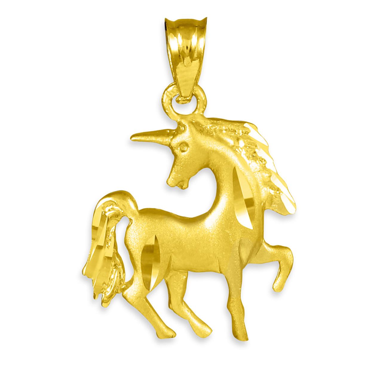 10k Yellow Gold Diamond Cut Satin Lion Charm Pendant