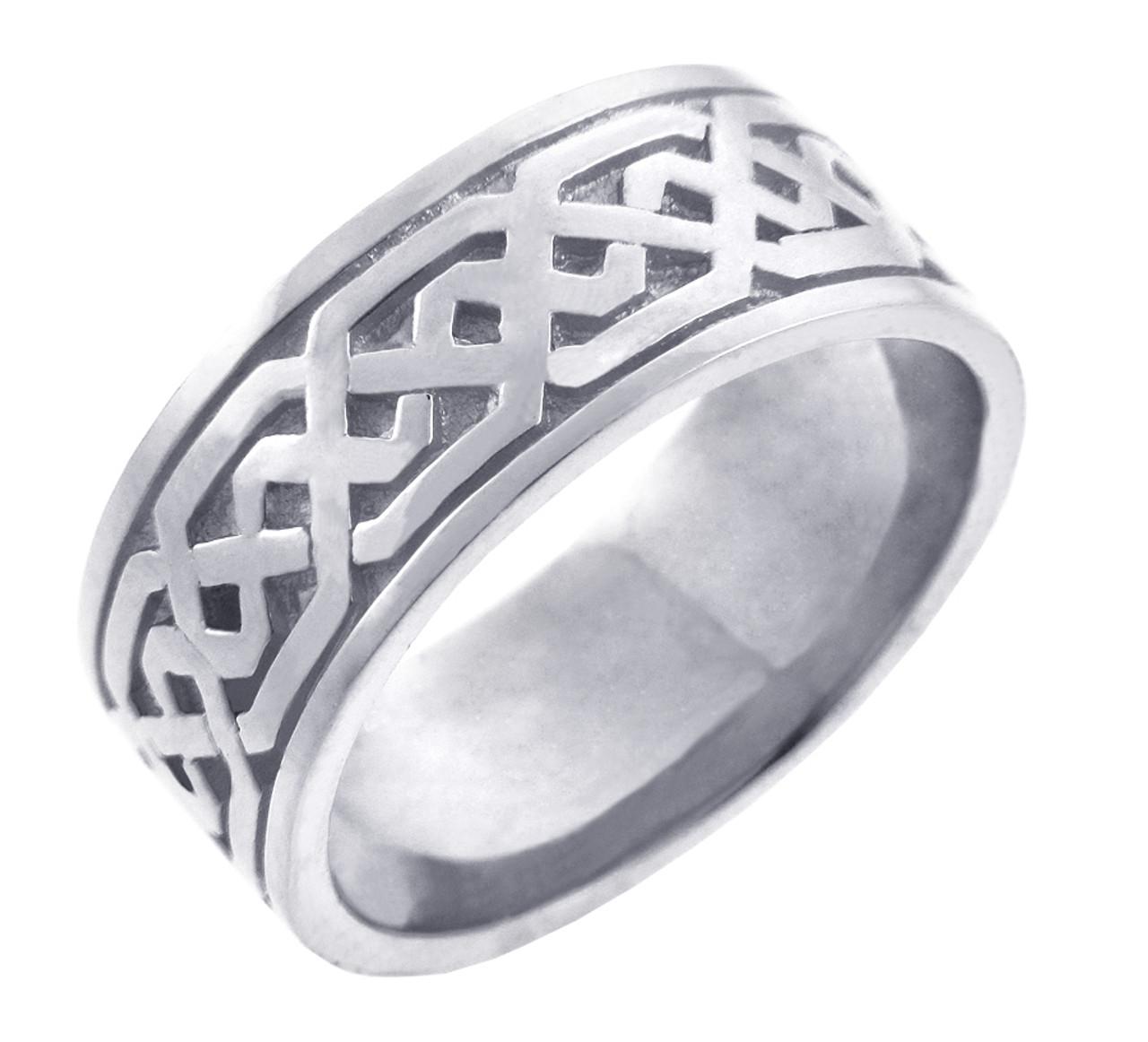 Men S Celtic Band White Gold Celtic Knot Ring