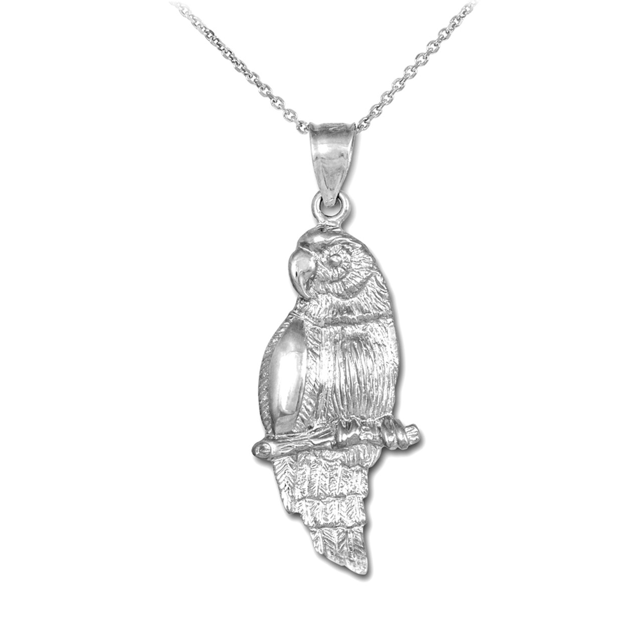 Sterling Silver Polished /& Textured Perched Owl Pendant