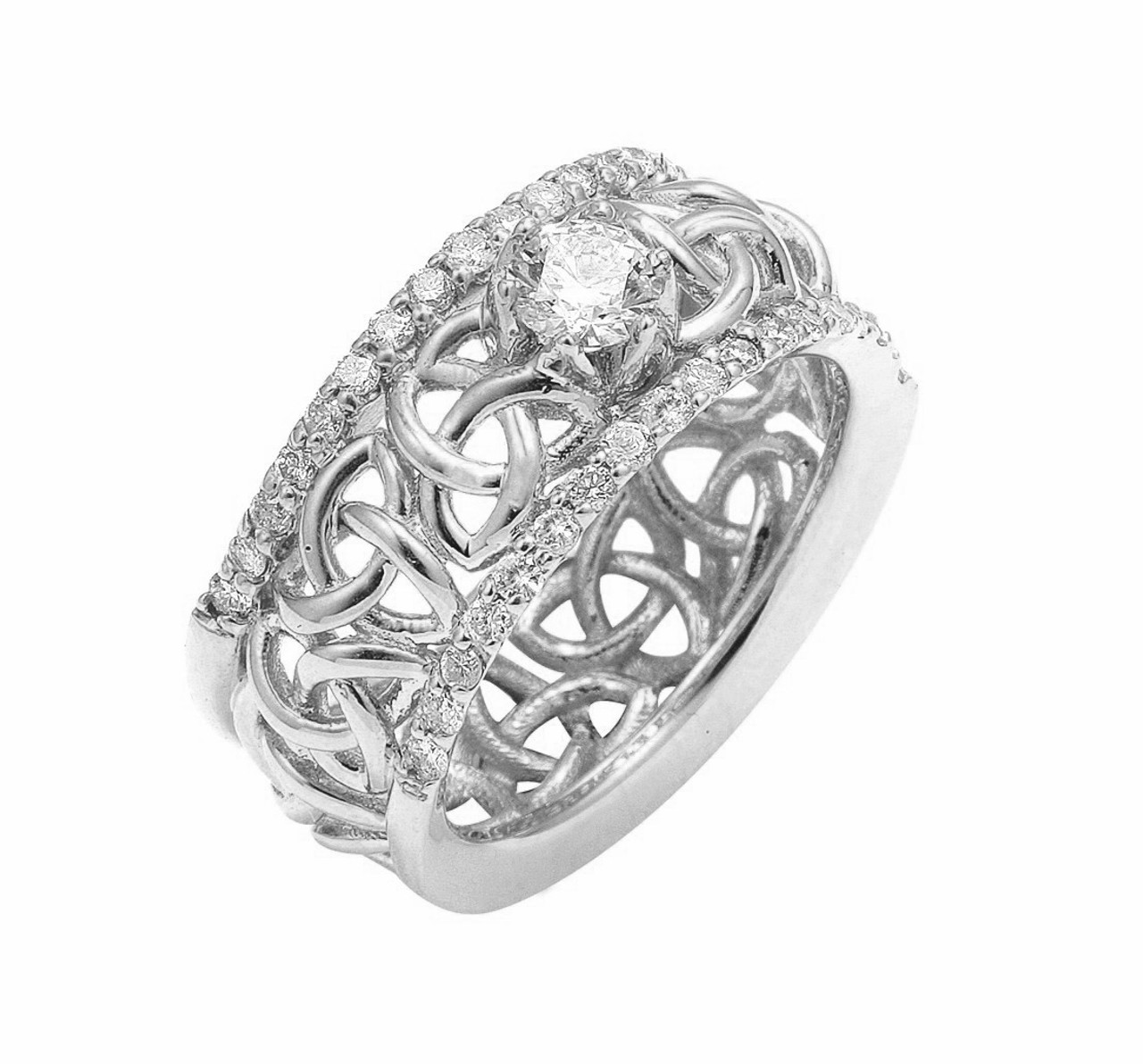 White Gold Celtic Trinity Love Knot Diamond Wedding Ring