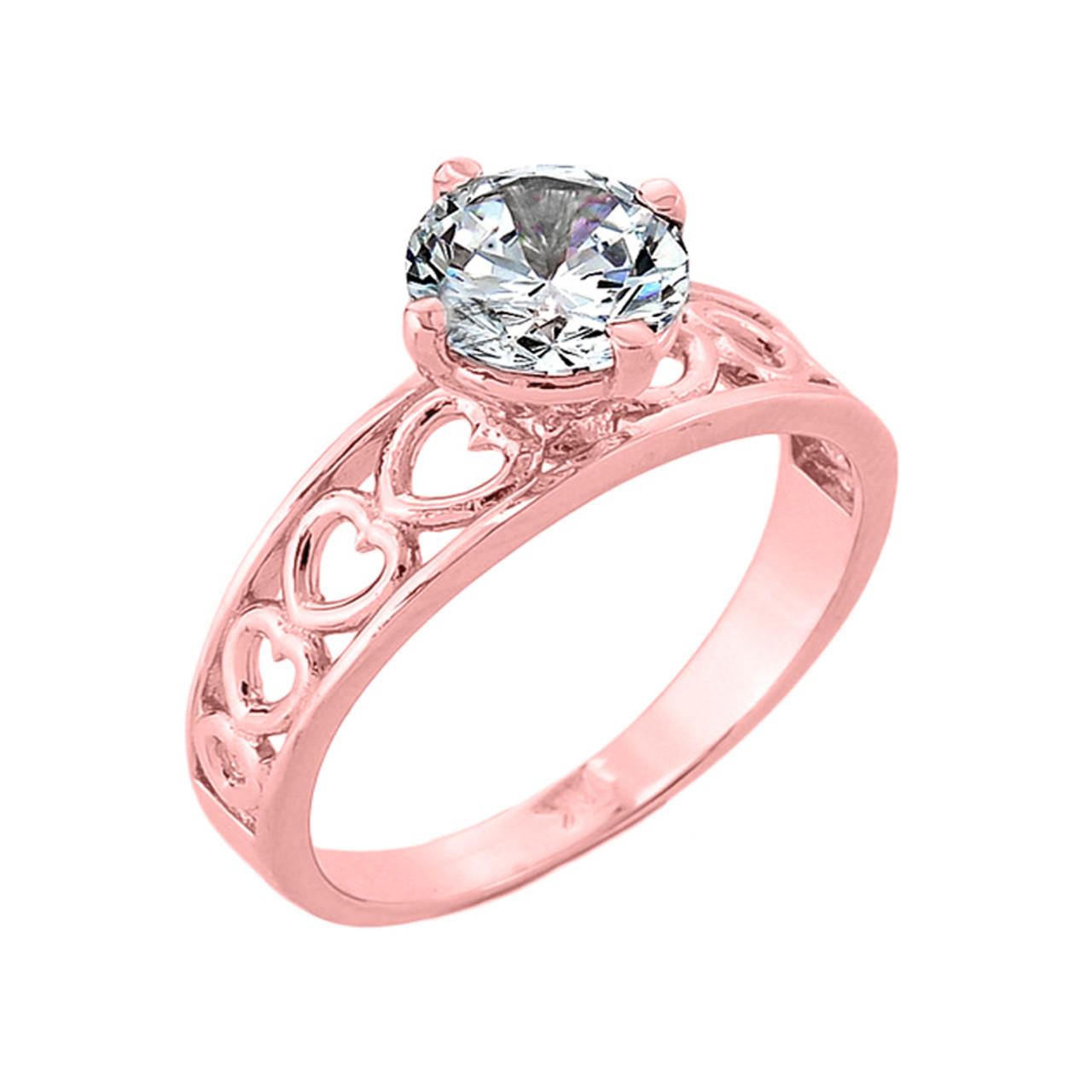 Engagement Ring Cz Engagement Ring White Gold Cz Engagement Ring Rose Gold Cz Solitaire Ring I Cz Solitaire Engagement Ring Round Cz Engagement Ring