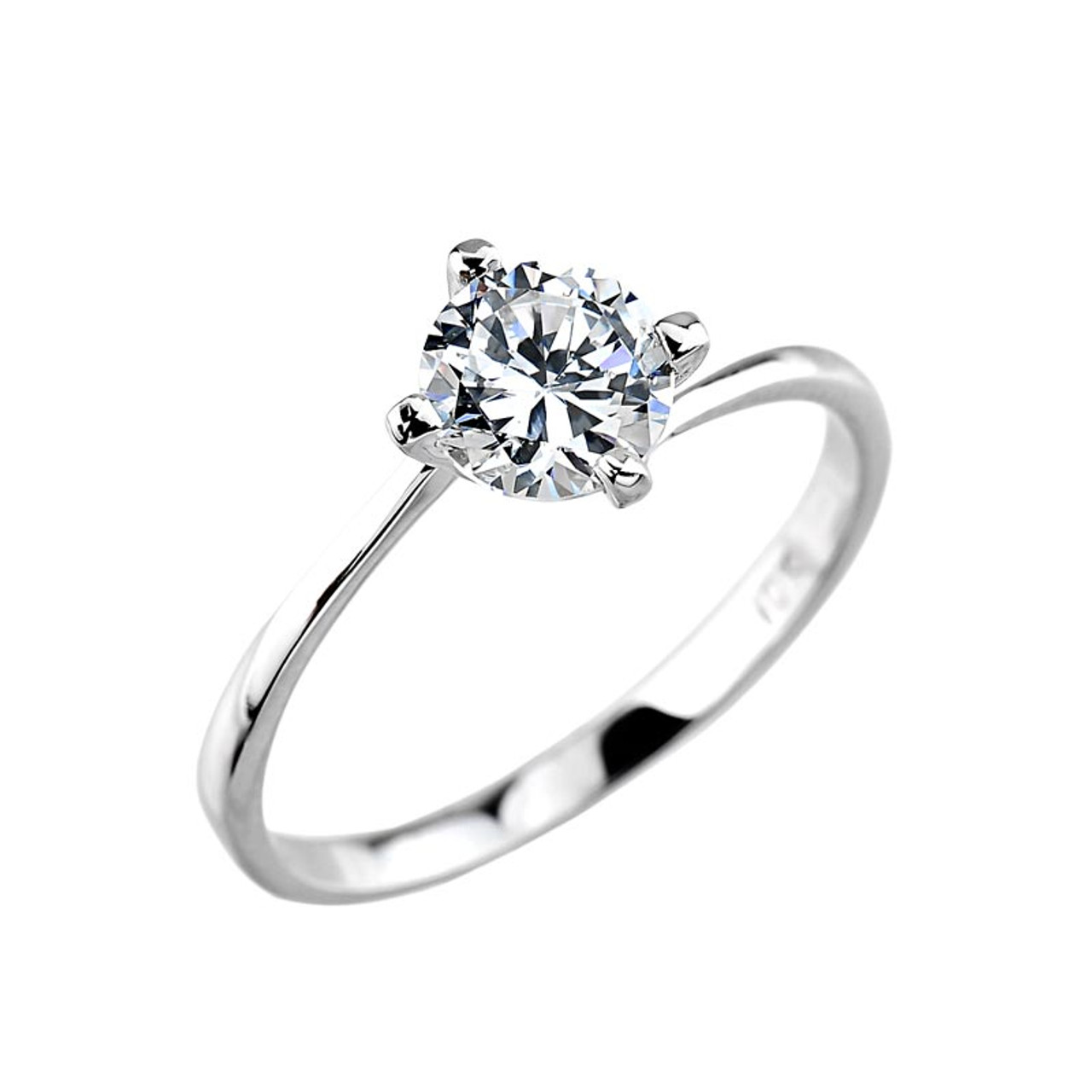 Engagement Ring Cz Engagement Ring White Gold Cz Engagement Ring Cz Solitaire Engagement Ring Round Cz Engagement Ring 2 Ct Cz Engagement Ring