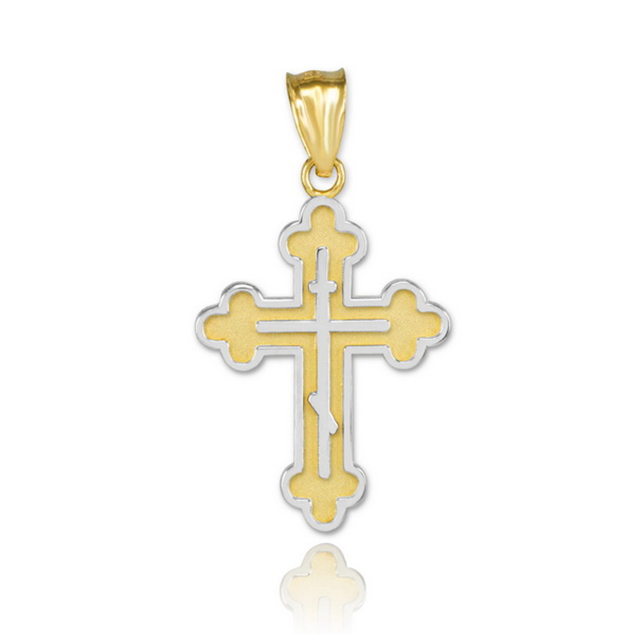 Solid 14K White Gold Filigree Eastern Orthodox Cross Charm Pendant Necklace