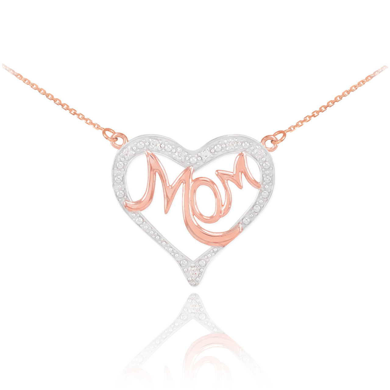 Mother/'s Day Gifts 14K Two-Tone Gold Diamond Studded Mom Heart Pendant Necklace