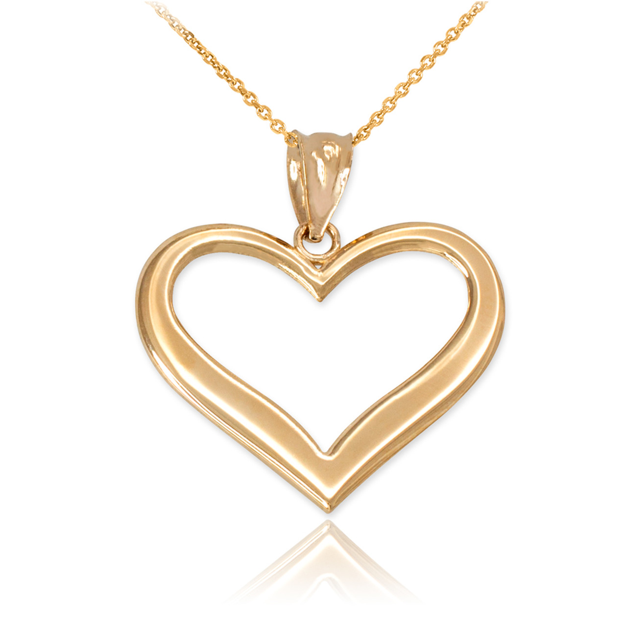 4579eb1dad21f Yellow Gold Polished Open Heart Pendant Necklace