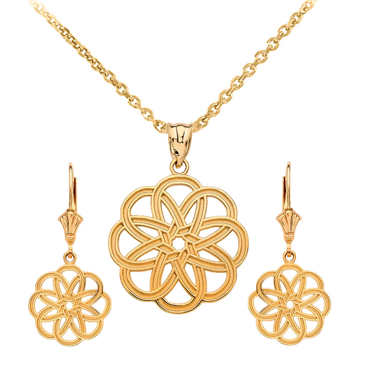 14k Yellow Gold Celtic Knot Round Flower Necklace Earring Set