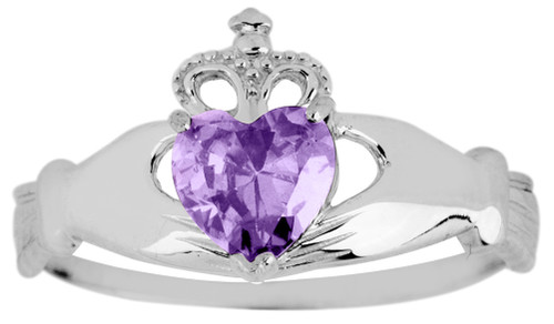 White Gold Birthstone Claddagh Ring - The Alexandrite