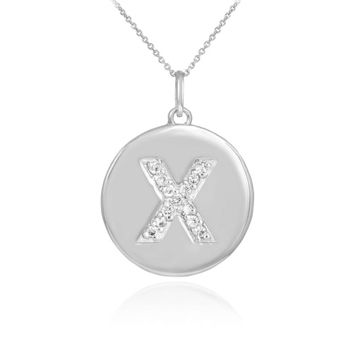 "Whtie Gold Letter ""X"" Initial Diamond Disc Pendant Necklace"