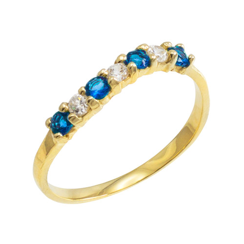 Gold Wavy Stackable CZ Blue Topaz Ring