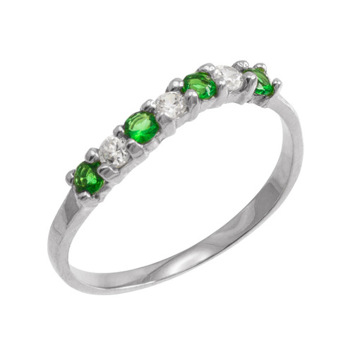 White Gold Wavy Stackable CZ Emerald Ring