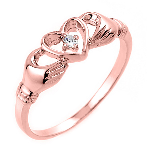 Gold Claddagh Ring - Rose Gold Claddagh Ring with Diamond