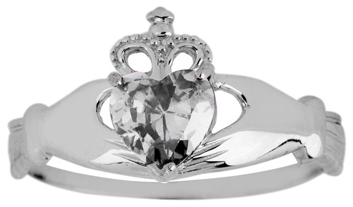 White Gold Birthstone Claddagh Ring with Cubic Zirconia