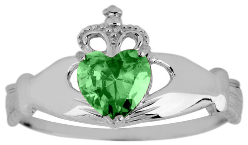 White Gold Birthstone Claddagh Ring with CZ Emerald