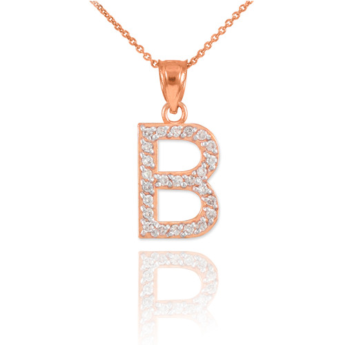 "Rose Gold Letter ""B"" Diamond Initial Pendant Necklace"
