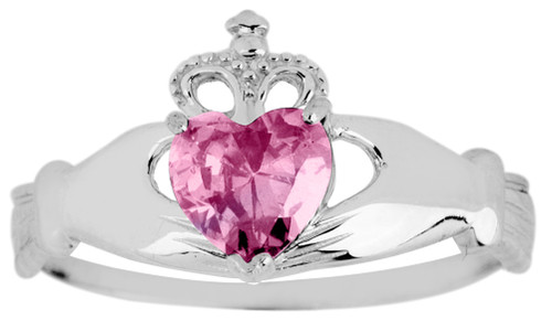 White Gold Claddagh Ring Pink Cubic Zirconia Gemstone