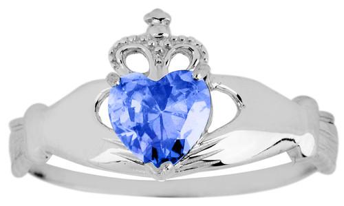 White Gold Birthstone Claddagh Ring with CZ Sapphire Gemstone