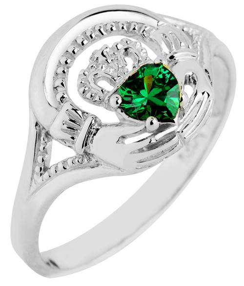 White Gold Claddagh Ring with CZ Emerald Green Stone