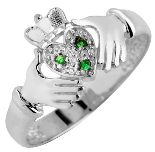 White Gold Claddagh Ladies Ring with Three CZ Emeralds