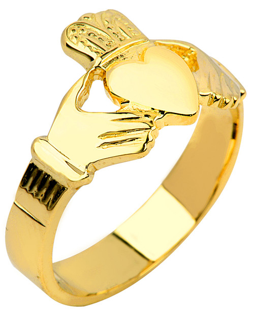 Gold Claddagh Ring Men's Solid.  Available in your choice of 14k or 10k Gold.