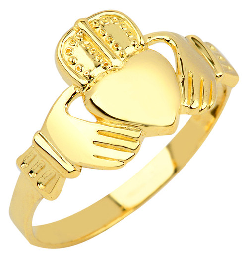 Gold Claddagh Ring Mens.  Available in 14k and 10k yellow gold.