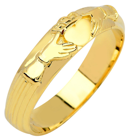 Gold Claddagh Wedding Band Mens Ring