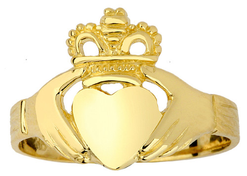 Gold Claddagh Ring Ladies Traditional.  Available in 14k and 10k.