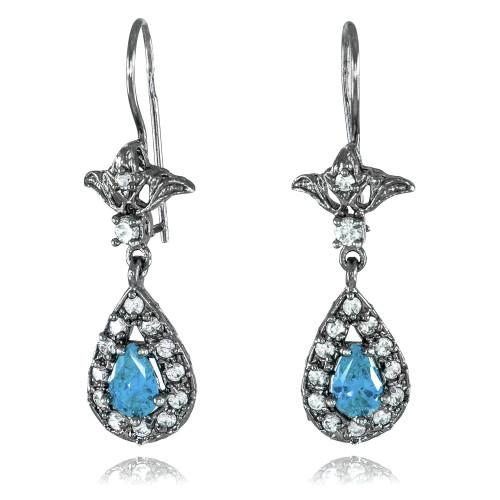 Black Silver Teardrop Aquamarine CZ Earrings