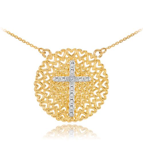 Two-Tone Gold Filigree Heart Cross Diamond Necklace
