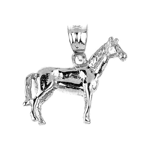 Solid White Gold Horse Charm Pendant