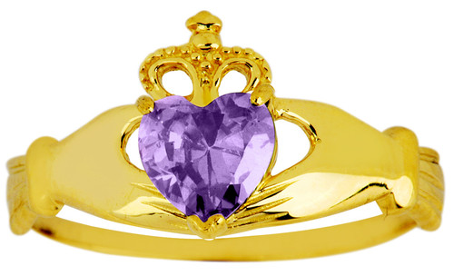 February birthstone amethyst CZ Claddagh ring in gold.