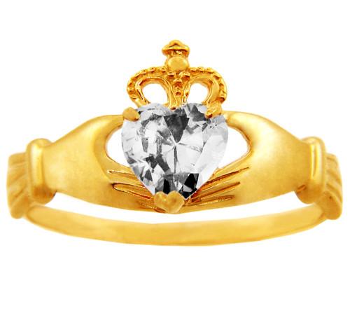 April birthstone clear CZ Claddagh ring in gold.