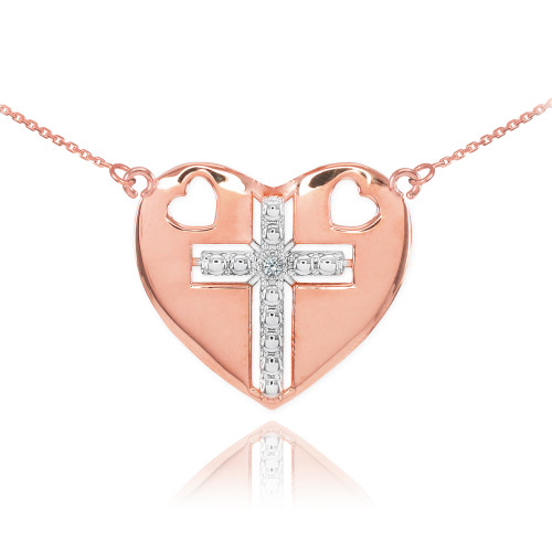 14K Two Tone Rose Gold Heart Cross Diamond Necklace