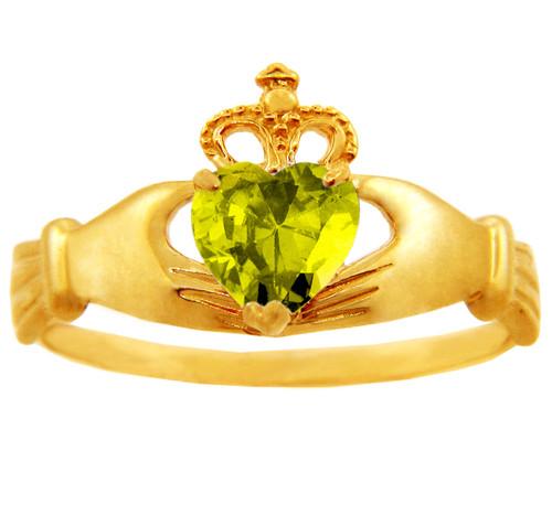 Yellow topaz cz birthstone Claddagh ring in 10k or 14k yellow gold.
