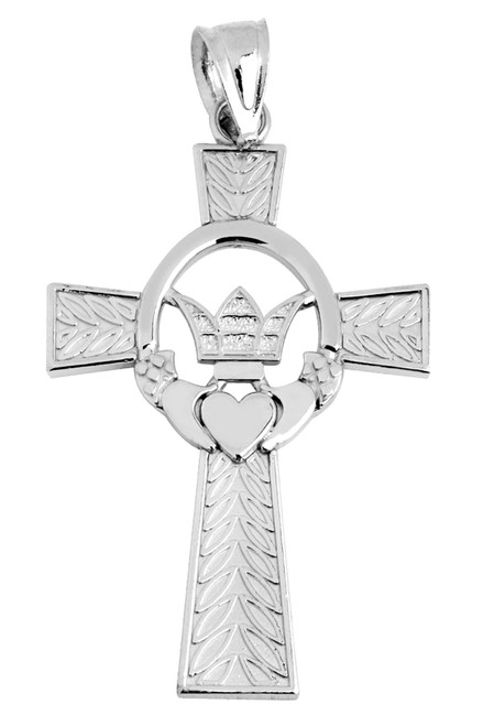 All White Gold Claddagh Irish Cross Pendant