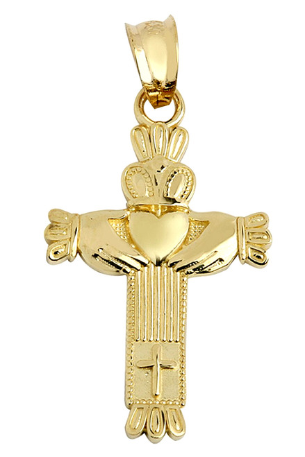 Gold Claddagh Cross Pendant Necklace