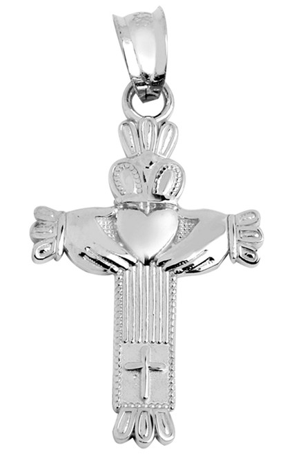 White Gold Claddagh Cross Pendant from CladdaghGold.com - image