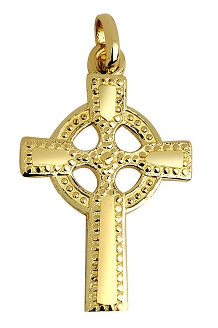 Large Gold Celtic Cross Pendant Polished