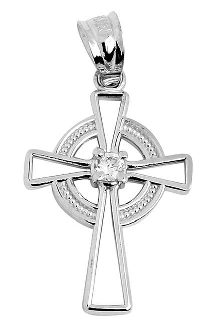Irish Celtic Cross White Gold Pendant with Center CZ