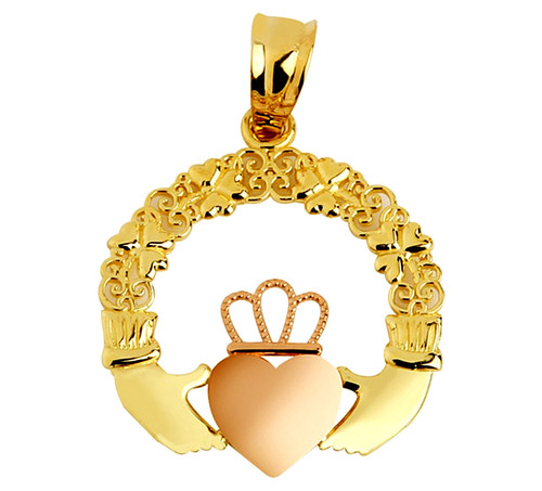 Claddagh Pendant Pink Yellow Gold