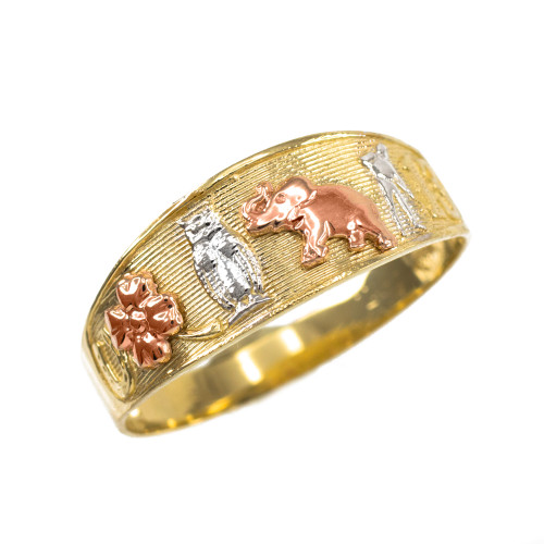 Solid Three-tone Gold Lucky Ring