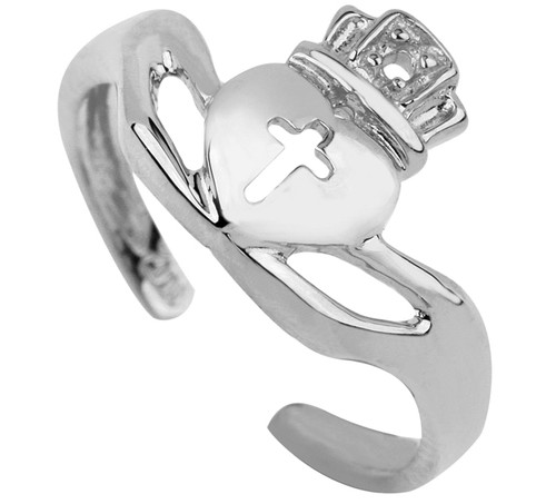 White Gold Claddagh Toe Ring