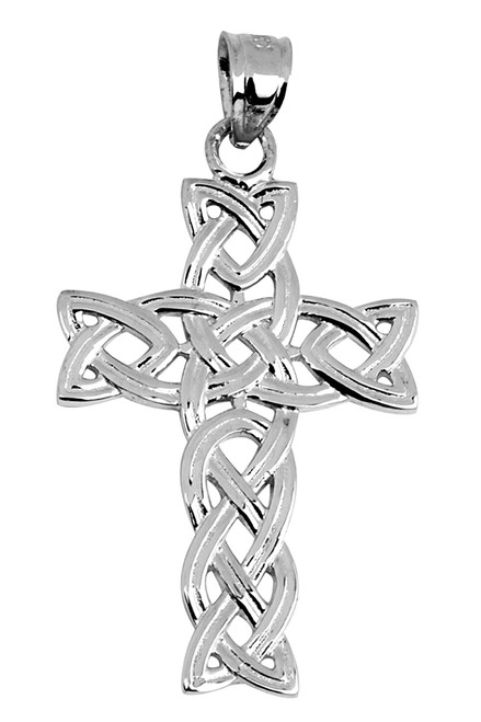 White Gold Celtic Trinity Cross Pendant from CladdaghGold.com - image