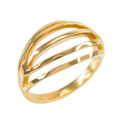 Solid Yellow Gold Layered Ring